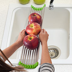 Long Folding Drain Sink Rack Stainless Steel Colander Drying Tray