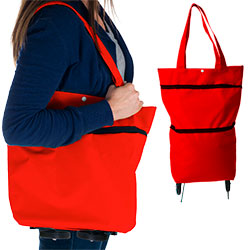 Eco-Friendly Foldable Two-Way Shopping Bag with Wheels - Red