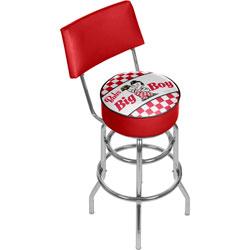 Bobs Big Boy Checkered Padded Swivel Bar Stool with Back