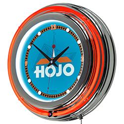 Howard Johnson Wordmark Chrome Double Ring Neon Clock