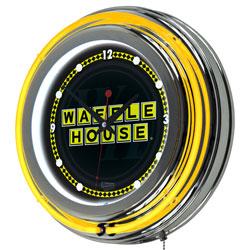 Waffle House Wordmark Chrome Double Ring Neon Clock
