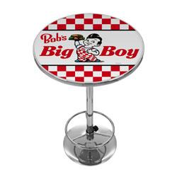 Bobs Big Burger Checkered Chrome Pub Table