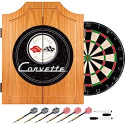 Corvette C1 Dart Cabinet Includes Darts and Board - Black