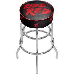 Honda Ride Red Padded Swivel Bar Stool