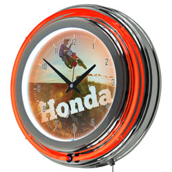 Honda Power Sport Chrome Double Ring Neon Clock