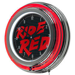 Honda Ride Red Chrome Double Ring Neon Clock