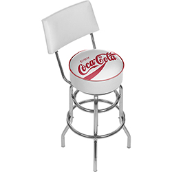 Enjoy Coke White Stool with Back
