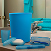 Everyday Home 5 Piece Waste Basket and Toiletry Case Set - Blue