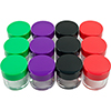 Stalwart 12pc 20ml Clear Storage Jars Colored Lids