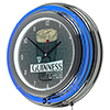 Guinness Chrome Double Rung Neon Clock  - Line Art Pint