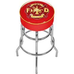 Fire Fighter Logo Padded Bar Stool