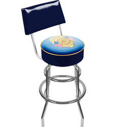 Police Officer Padded Swivel Bar Stool with Back