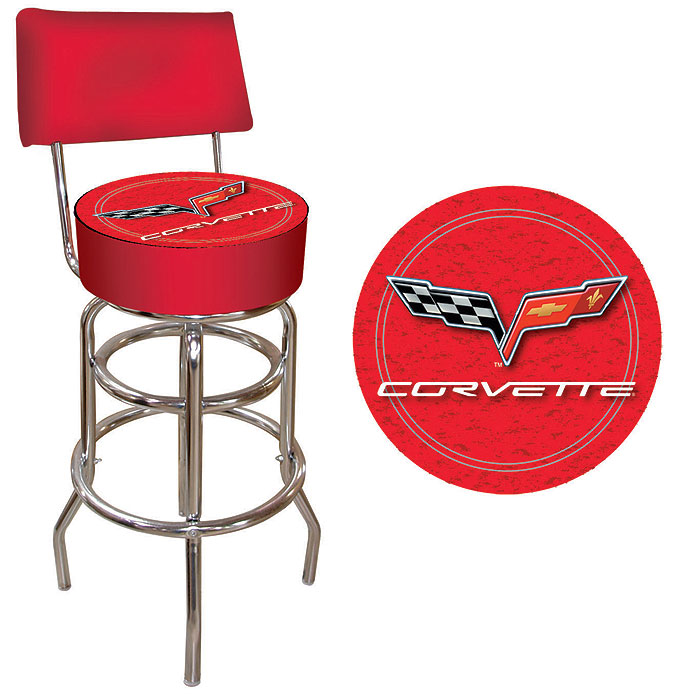Corvette C6 Padded Bar Stool - Red