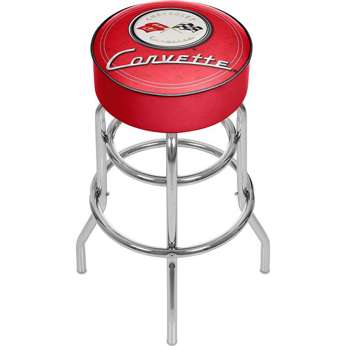 Corvette C1 Padded Bar Stool - Red