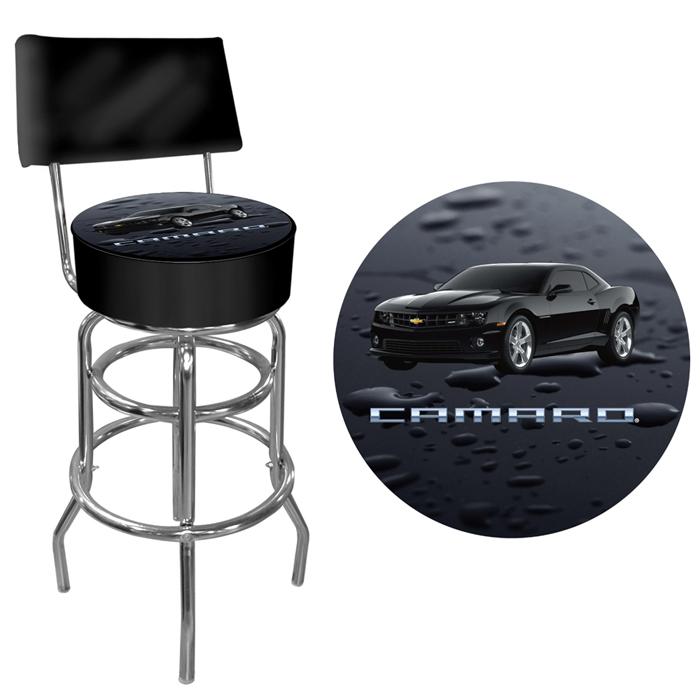 Black Camaro Padded Bar Stool with Back