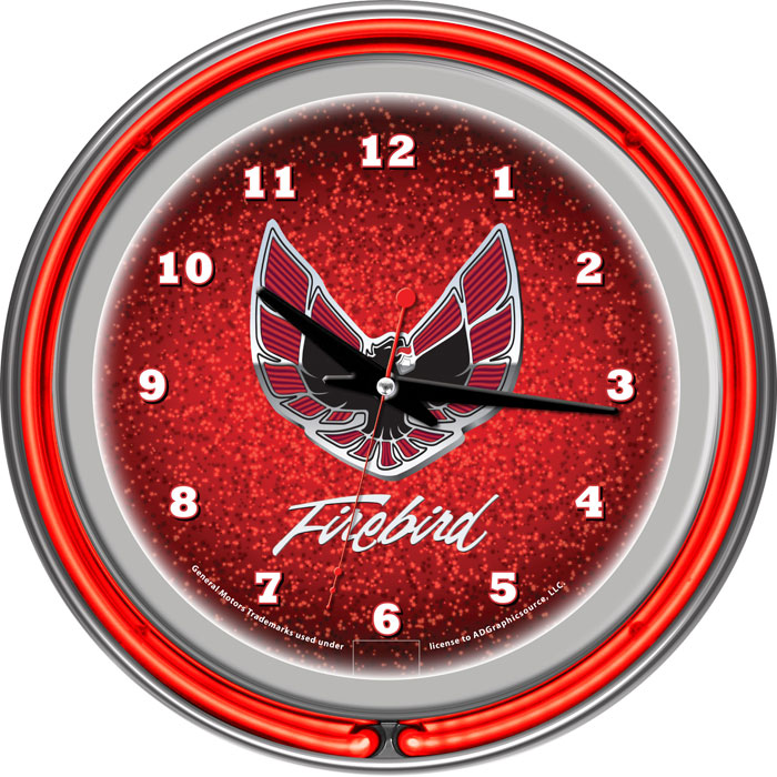 Pontiac Firebird Red Chrome Double Ring Neon Clock