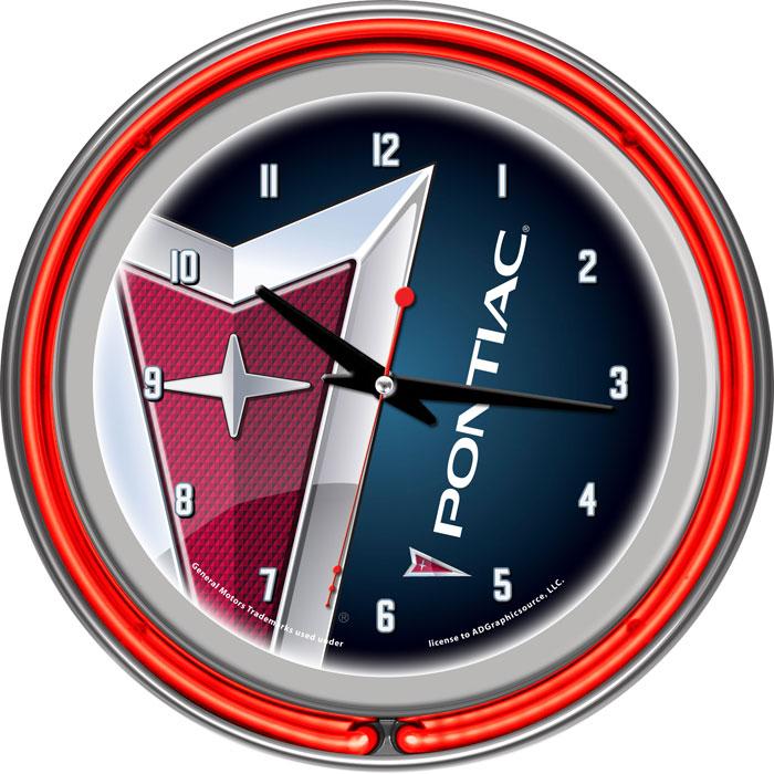 Pontiac Chrome Double Ring Neon Clock