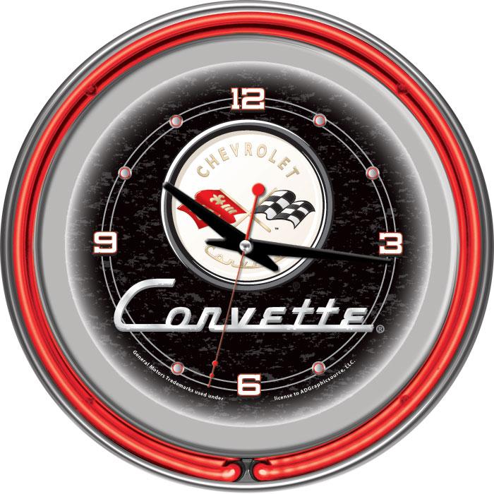 Corvette C1 Neon Clock - 14 inch Diameter - Black