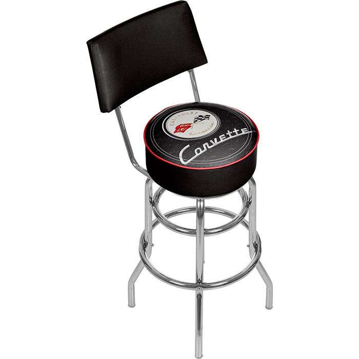 Corvette C1 Padded Bar Stool with Back - Black on Black