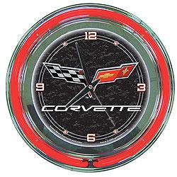Corvette C6 Neon Clock - 14 inch Diameter - Black