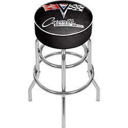 Corvette C2 Black Padded Swivel Bar Stool