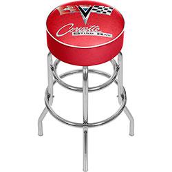 Corvette C2 Red Padded Swivel Bar Stool