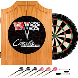 Corvette C2 Black Wood Dart Cabinet Set