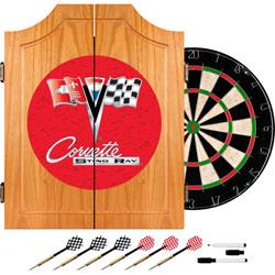 Corvette C2 Red Wood Dart Cabinet Set