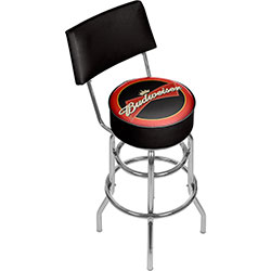 Budweiser Bowtie Red/Black Padded Bar Stool with Back