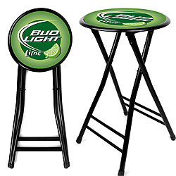 Bud Lime 24 Inch Cushioned Folding Stool - Black