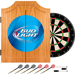 Bud Light Dart Cabinet Includes Darts and Board