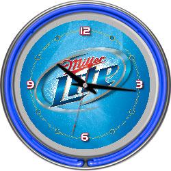 Miller Lite 14 Inch Neon Wall Clock - Vapor Design