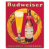 Budweiser Vintage Ad Bottle & Glass Red Canvas 18x22 Inch
