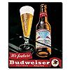 Budweiser Vintage Ad - Bottle & Glass Blk Canvas 18x22 Inch