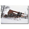 Clydesdales - Snowing in front of Barn - 16x24 Canvas