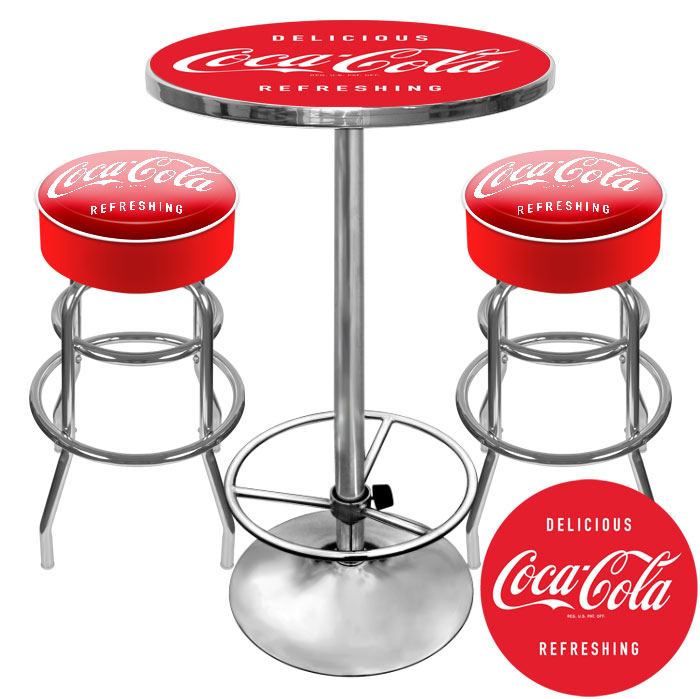 Attractive Ultimate Coca Cola Gameroom Combo   2 Bar Stools And Table