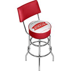 Vintage Coca-Cola Coke Pub Stool with Back - Ice Cold Design