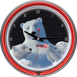 Coca-Cola Neon Clock - Polar Bear with Cubs