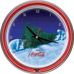 Coca-Cola Neon Clock - Polar Bear with Tree
