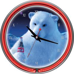 Coca-Cola Neon Clock - Polar Bear with Coke Bottle