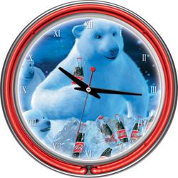 Coca-Cola Neon Clock - Polar Bears with Coke Bottle & Cubs