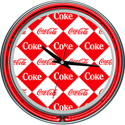 Checker Coca Cola Neon Clock - Two Neon Rings