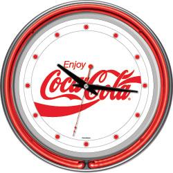 Enjoy Coke White Neon Clock - Two Neon Rings