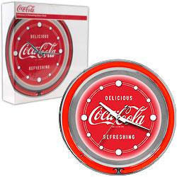 Coca Cola Neon Clock - Delicious Refreshing - Two Neon Rings