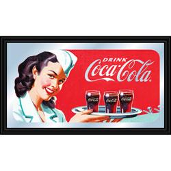 Coca-Cola Vintage Mirror Horizontal Waitress w/ Coke