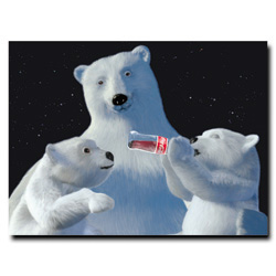 Coke Polar Bear with Cubs and Coke Bottle - 18 x 24 Inches