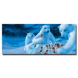 Coke Polar Bears with Nest of Coke Bottles  - 13 x 22 Inches
