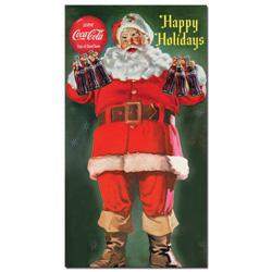 Coke Santa Holding 6 pack of Coca Cola 13 x 24 Inches