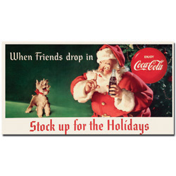 Coke Santa w/ Dog - Stock up for the Holiday-13 x 24 Inches