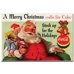Coke Santa Merry Christmas w/ Elves  - 16 x 24 Inches